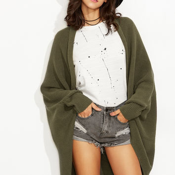 Olive Green Shawl Collar Open Front Cocoon Cardigan | MakeMeChic.COM