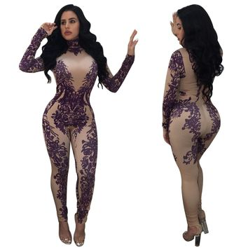 Purple and Nude Bodysuit