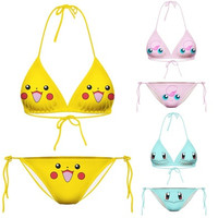 Alisister Newest 2016 sexy women Pikachu Cartoon Swimsuits Bikini two piece Swimwear 3d bathing suits [8098018375]