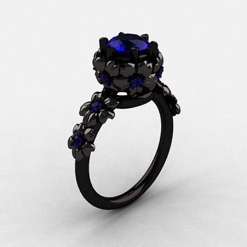 14K Black Gold Blue Sapphire Flower Wedding Ring, Engagement Ring NN109-14KBGBS
