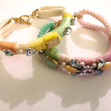 Sherbert Multi Colored Coral, Yellow, Mint, and Lilac Thread Wrapped Crystal Embellished Friendship Bracelets