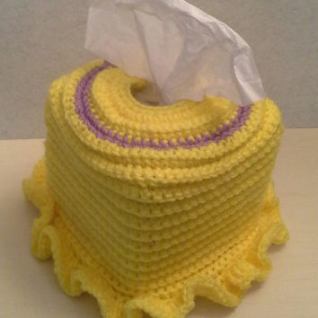 Crochet Square Tissue Box Cover, home accents, home decor, yellow, lilac