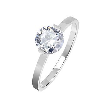 Silver Adornment - Women's Stainless Steel Clear CZ Solitaire Engagement Ring