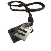 Aquarius Brown Real Leather and alloy pendant adjustable necklace mens necklace  unisex necklace cool necklace B149
