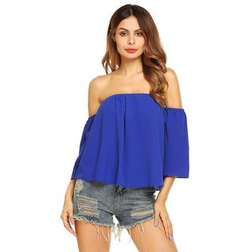 Draped Off The Shoulder Long Sleeve Crop Top