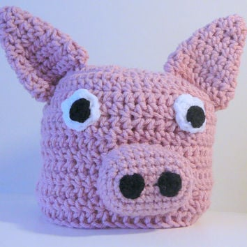 Pink Piggy Hat PDF Crochet Pattern - Newborn to Adult INSTANT DOWNLOAD