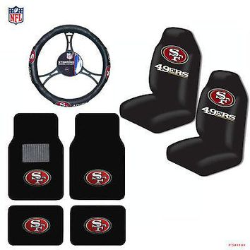 Licensed Official NFL San Francisco 49ers Car Truck Seat Covers Floor Mats Steering Wheel Cover