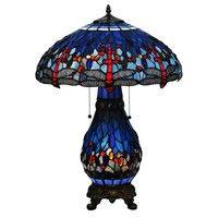 "Meyda 25.5""H Tiffany Hanginghead Dragonfly Lighted Base Table Lamp"