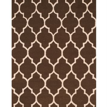 EORC Hand-tufted Wool Brown Traditional Trellis Moroccan Rug
