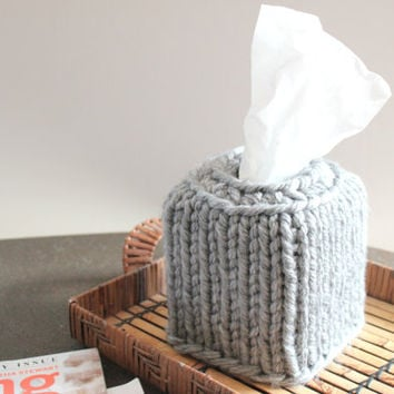 Crochet Gray Tissue Box Cover, Kleenex Cover, Knit Decor,Gray Modern Decor, Modern Bathroom, Nursery Decor, Gray Nursery