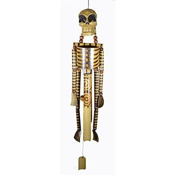 Hand Carved Beautifully Detailed Treasure Pirate Skull Skeleton Bones Wind Chime