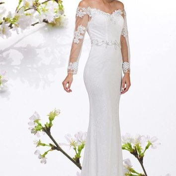 Inexpensive long sleeve casual lace wedding dress #DQ0002