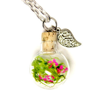 Glass Globe Terrarium Necklace Unique Nature Jewelry, Woodland Pendant, Moss and Dark Pink Fuschia Flowers, Silver Plated Leaf and Chain
