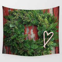 Country Christmas Wreath Wall Tapestry by RDelean