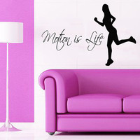 Woman Wall Decals Quote Motion Is Life Girl Runner Gym Sport Vinyl Decal Sticker Art Mural Kids Room Interior Design Living Room Decor KG852