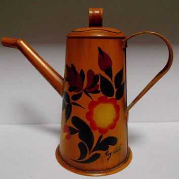 Metal Hand Painted Toleware Coffee Tea Pot Vintage Home Decor Signed