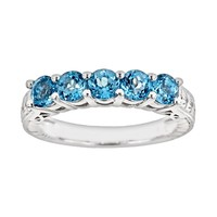 Sterling Silver Swiss Blue Topaz Five-Stone Ring
