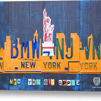 New York City Skyline License Plate Art Metal Print