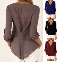 V collar sexy long sleeves, waist irregular Large Size Chiffon shirt