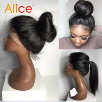 Alice Silky Straight Full Lace Wig Human Hair Lace Front Wigs For Black Women 10A Brazilian Hair Full Lace Wig With Baby Hair