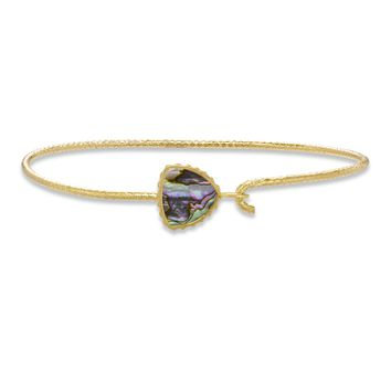Sterling Silver Trillion Bangle Bracelet In Abalone Shell