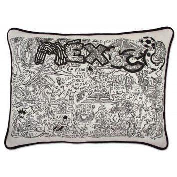 Mexico Black and White Embroidered Pillow