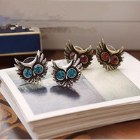Hot Fashion European and American popular retro big eyes owl earrings Luxury Rhinestone blue crystal Stud Earrings women jewelry