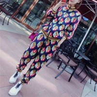 ONETOW Gucci' Women Casual Fashion Multicolor Geometric Print Zip Cardigan Long Sleeve Set Two-Piece Sportswear