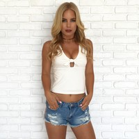Knotty Tank Top In Ivory