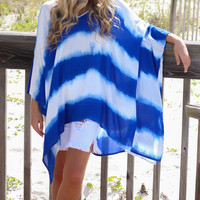 Blue And White Tie Die Poncho/Cover Up