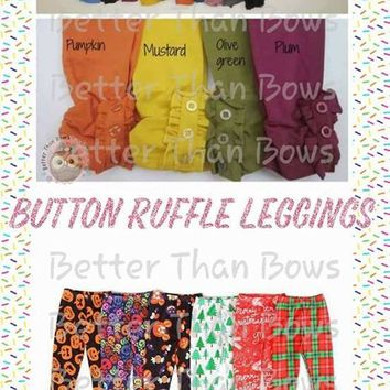 Button Ruffle Leggings - Holiday Solids & Prints *Preorder 0408* Closes August 24th @ 8pm