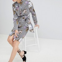 Warehouse Tie Front Floral Stripe Shirt Dress at asos.com