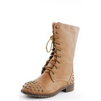 Harley10 Spike Toe Combat Boots TAN