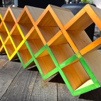 Geometric Shelf, Modern Shelf, Floating Shelf, Painted Wood Shelf, Minimalist Decor, Diamond Shelf, Mod Stackable Shelf, Painted Furniture