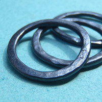 Three hammered sterling blacked stacking rings // Size 6 - 6.5 American //