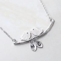 Lovebirds Silver Initial Necklace