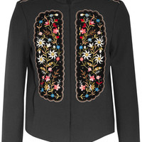 Vilshenko - Misha embroidered velvet-paneled gabardine jacket