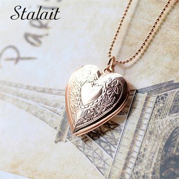 Openable I Love You heart pendant Silver Color Necklace  Snake Chain  Vintage Family  Fashion Women Jewelry Christmas Gift 185