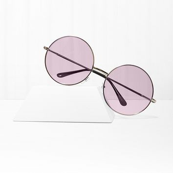Almost Famous Round Purple Sunglasses
