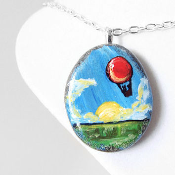 Hot Air Balloon Necklace, Art Pendant, Hand Painted Rock, Balloon Jewelry, Gift for Her