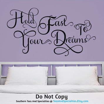Personalized Word Art Vinyl Wall Decal Sticker Hold Fast To Your Dreams Flourish Inspirational Dreamer Future Hope Plans