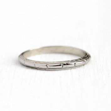 Dated 1932 Band - Antique Art Deco 18k White Gold Engraved Bridal Ring - Size 6 3/4 Vintage 1930s Eternity Wedding Fine Jewelry