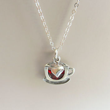 Coffee Cup and Heart Necklace. Cup of Coffee or Tea Pendant. Sterling Silver Tea Cup Pendant Necklace.