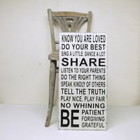 Family Rules Wood Sign Cottage White and Black Vintage Style Be Grateful Know You Are Loved No Whining