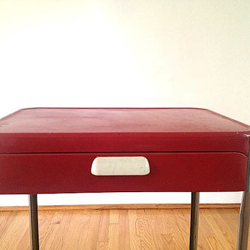 Antique Enamel Industrial Cart,  Vintage Enamel Top Table, Antique Crafter Table, Vintage Enamel Doctors Cart, Retro Kitchen Home Decor