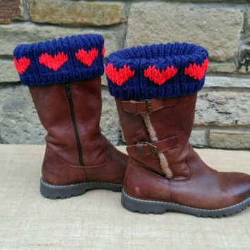 Boot Cuffs, Heart Boot Topper Cuffs, red on blue, welly toppers, boot over socks, Valentine Heart Design Ready to Ship from UK