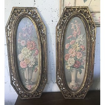 Pair of Vintage French Victorian Ornate Gold Framed Floral Bouquet Paintings