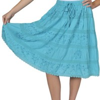 Alki'i Embroidered lace sequin full gypsy bohemian mid length skirt, Many colors