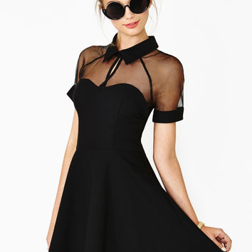Black Short Sleeve Chest Cut-Out Collared Mini Skater Dress with Mesh Accent