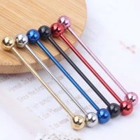 14G Titanium Anodized Industrial Barbell Ear Ring Body Piercing Jewellery 6 colors 60pcs/120pcs  Piercing Barbells